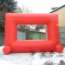 Inflatable red billboard