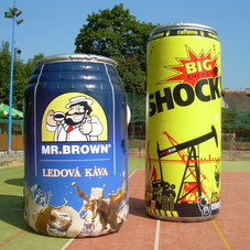 Inflatable cans Shock and Mr. Brown