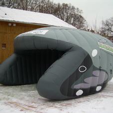 Inflatable tent helmet